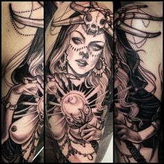 🔮✨ Witch tattooed today on tough girl (at Blackbird Electric) Pin Up Tattoos, Tattoo You, Black Tattoos, Body Art Tattoos, Girl Tattoos, Awesome Tattoos, Tatoos, Aztec Tattoos Sleeve, Girls With Sleeve Tattoos