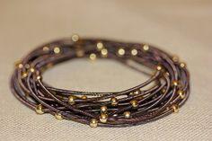Purple Lavender & Gold Stretch Wire Bangle Bracelets