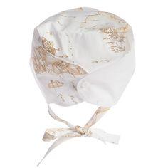 Girls Beige Map Print Cotton Bonnet