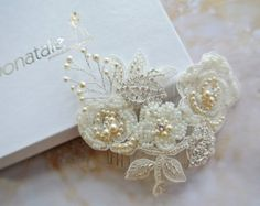 COCO boda casco encaje tocado de novia por DonataleFlowers4You