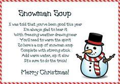 Snowman soup poem printable lables                                                                                                                                                                                 More