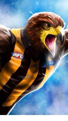 'The Conquering Hawk From Hawthorn' Print By Grange Wallis Australian Football League, Sports Photos, Wallis, Art Logo, What Is Like, Embedded Image Permalink, Football Team, Cool Art, Awesome Art