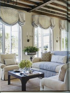 Soft Balloon Shade Valance With Pleated Header Over Arched French Doors THE CEILINGLove Everything About This Room