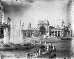 Close up of the fountains and sculpture of the 'Court of Honor' at the Chicago World's Columbian Exposition, 1893.