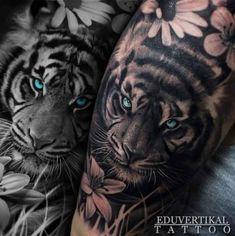 Trendy Tattoo Leg Tiger Flower Ideen - - tattoo tattoo tattoo calf tattoo ideas tattoo men calves tattoo thigh leg tattoo for men on leg leg tattoo Tigeraugen Tattoo, Tattoo Bein, Calf Tattoo, Tatoo Art, Up Tattoos, Trendy Tattoos, Future Tattoos, Body Art Tattoos, Tattoos For Guys