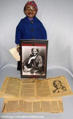 Harriet Tubman by Bertabel's Dolls – DeeBeeGee's Virtual Black Doll Museum™ Burgundy Paint, Brown Paint, Deep Burgundy, Famous Black Americans, Famous African Americans, 16 Inch Hair, George Washington Carver, Doll Museum, Salt And Pepper Hair