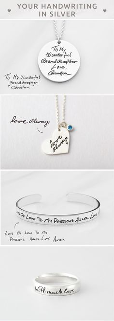 Handwriting Jewelry • Personal Handwriting Necklace • Engraved Handwriting Ring • Handwriting Bracelet • Engraved Handwriting Bangle • Actual handwriting jewelry  • Custom handwritten jewelry • Handwritten jewelry • Sympathy jewelry • Memorial ring • Keepsake jewelry • engagement present ideas • bridesmaid presents • diy gifts for mom christmas • christmas gifts for best friends • best friend gift ideas • gift for a friend