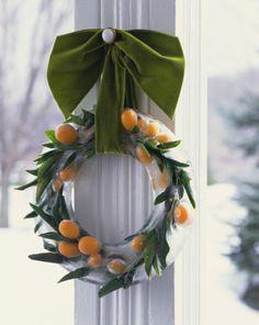 Ice wreath with kumquats