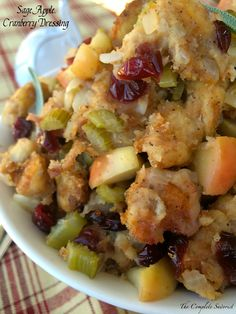 Sage Apple Cranberry Dressing ~ Herbaceous and fruity, the classic holiday dressing with a flirty twist ~ The Complete Savorist Stuffing Recipes, Turkey Recipes, Fall Recipes, Holiday Recipes, Homemade Stuffing, Top Recipes, Shrimp Recipes, Thanksgiving Menu, Thanksgiving Dressing