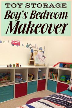 Toddler Boy's Bedroom Makeover with Ikea furniture, Kallax storage units for toys and a seaside theme Ikea Boys Bedroom, Ikea Bedroom Storage, Boy Toddler Bedroom, Toddler Rooms, Baby Bedroom, Kids Rooms, Bedroom Ideas, Baby Decor, Nursery Decor
