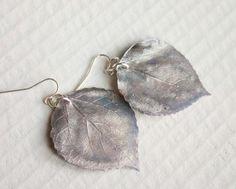 Antik Seide Aspen Leaf Ohrringe Brautschmuck von HopeFilledJewelry
