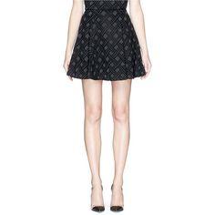 Alice + Olivia 'Rochelle' diamond brocade high waist flare skirt ($300) ❤ liked on Polyvore