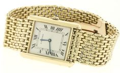 Cartier heavy vintage 18k yellow gold Tank men's watch with original Cartier band