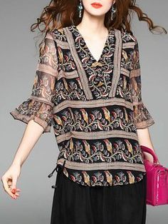 6ad0f5ffff1d Coffee V Neck H-line Floral Printed Frill Sleeve Casual Blouse Blouse Online