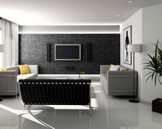 Living room, Interior Black And White Contemporary Ideas With White Wall Color And Curly Grey Wallpaper Also Mounted Tv And Component Eves Alsoplaid Pattern Sofas Also Standing Lamp And Downlights Also Pla: Best console living room design