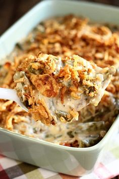 Ultimate Green Bean Casserole - Southern Bite This recipe for Green Bean Casserole takes the classic dish up a notch by adding bacon, mushrooms, and cheese! It's a new Thanksgiving must-have! Classic Green Bean Casserole, Vegan Green Bean Casserole, The Best Green Beans, Frozen Green Beans, Greenbean Casserole Recipe, Easy Casserole Recipes, Thanksgiving Recipes, Holiday Recipes, Christmas Recipes