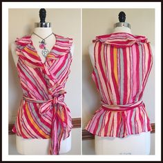 Pink striped ruffled spring wrap tie front top Flirty cotton blouse in fuchsia, yellow, & sage. Top wraps & ties in the front or side. Side large. EUC Ralph Lauren Tops Blouses