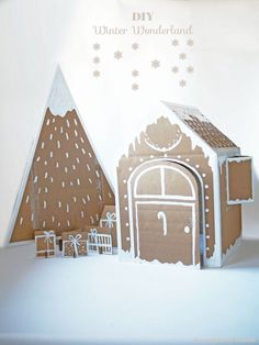 DIY Winter Wonderland - Xmas house & tree by La maison de Loulou - Diy Christmas Tree, Christmas Love, Winter Christmas, Christmas Decorations, Holiday Decor, Cardboard Christmas Tree, Minimal Christmas, Natural Christmas, Cardboard Gingerbread House