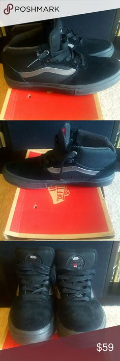 VANS Gilbert Crockett Mid Pro - Size 8 Brand new (only worn once around the house) in original box Mens VANS Gilbert Crockett Mid Pro Skateboarding shoes. Black on black, with gray accent on the sides.  Excellent condition and super fly, only selling because they are a bit too narrow for me. Vans Shoes Athletic Shoes