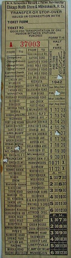 Transfer from interurban streetcar of the Chicago (Illinois) North Shore & Milwaukee (Wisconsin) RR. Company (1941 or 1943)