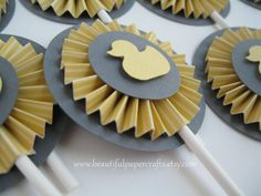 Duck Baby Shower - Duck Cupcake Toppers - rubber duck - Baby Shower - Party Decorations - Set of 12. $12.00, via Etsy.