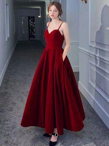 Robe de bal A line col en coeur satin tissu sans manches robes de soirée robe longue à fente - Milanoo.com