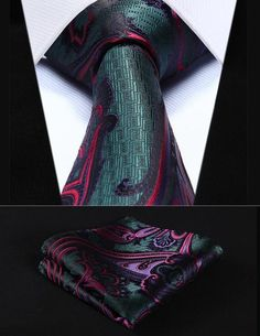 """TP924M8S Green Red Paisley 3.4"""" Silk Woven Men Tie Necktie Handkerchief Set"""