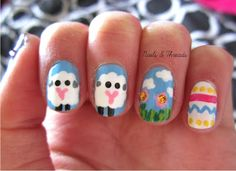 Easter nail art! nailsandthreads.blogspot.com check out www.ThePolishObsessed.com for more nail art ideas.