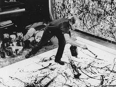 Artist - Jackson Pollock in action painting mode Action Painting, Drip Painting, Jackson Pollock, Pollock Paintings, Pollock Artist, Oil Paintings, Lee Krasner, Art Moderne, Art Plastique
