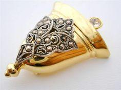 Vintage Darlene Christmas Bell Brooch Two Tone Pin Gold Silver Rhinestone Signed | eBay