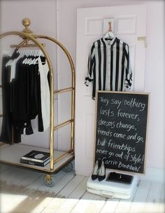 chalkboard, carrie bradshaw quote, black and white, style, display, inside blush, going away party, fashion, blush boutique, blush style, stripes,