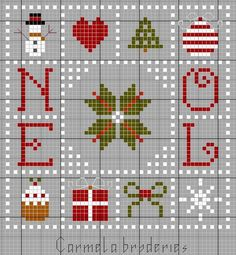 Tiny Cross Stitch, Xmas Cross Stitch, Cross Stitch Cards, Cross Stitch Designs, Cross Stitching, Cross Stitch Embroidery, Cross Stitch Patterns, Theme Noel, Embroidery Monogram