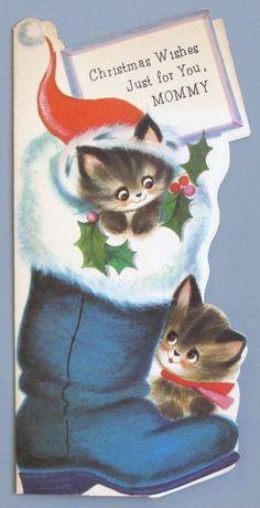 Vintage Greeting Card Christmas Boot Cute Cat Kittens Santa Hat Die-Cut