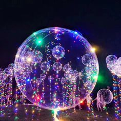Clear Balloon with LED String Lights -