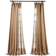 Carlton Taupe Linen Blend Stripe Sheer Curtain ❤ liked on Polyvore featuring home, home decor, window treatments, curtains, windows, taupe striped curtains, rod pocket sheer curtains, sheer curtains, stripe window curtains and stripe curtains