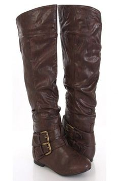 Brown Faux Leather Buckle Strap Closed Toe Flat Knee High Boots--I would love them if they were in black Wide Calf Boots, High Heel Boots, Bootie Boots, Shoe Boots, Pretty Shoes, Cute Shoes, Me Too Shoes, Leather Buckle, Leather Boots