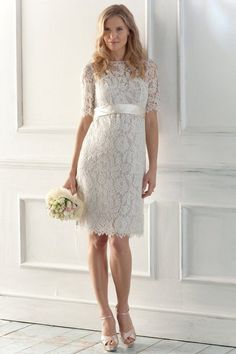 Are you looking for a short wedding dress with sleeves? We have selected a number of gorgeous short wedding dresses with sleeves. One of these chic dresses can be the dress that you are lon… Informal Wedding Dresses, Lace Wedding Dress With Sleeves, Dresses With Sleeves, Casual Wedding, Wedding Gowns, Short Sleeves, Lace Dresses, Dress Lace, Simple Dresses