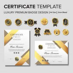 Creative Certificate Template With Golden Details Award Certificates, Certificate Templates, Badge Design, Vector Freepik, Company Names, Design Awards, Letterpress, Paper, Creativity