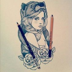 Girl wearing a bear headdress with roses tattoo....I like this only I would want a wolf headdress and not a bear.