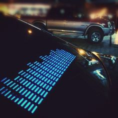 Interesting - AGPtek has come up an extremely cool product in the form of these Sound Activated Car Stickers. You will have a dancing set of equalizer bars throwing vivid flashes of blue LED lights on the rear windshield. Blue Led Lights, Car Lights, Car Stickers, Car Decals, Window Stickers, Car Gadgets, Music Gadgets, Cool Tech, Car Audio