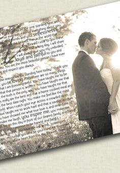 Wedding photo to canvas words vows by Geezees Custom Canvas on Etsy