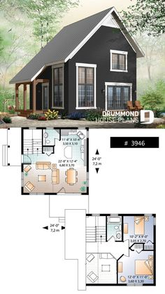 2 bedroom transitional style cottage design, with mezzanine and cathedral ceilin. - 2 bedroom transitional style cottage design, with mezzanine and cathedral ceiling, affordable construction Tiny Cabin Plans, Tiny House Cabin, Tiny Cabins, Tiny House Living, Tiny House Plans, Living Room, Tiny Cottages, Small House Plans Under 1000 Sq Ft, Tiny Home Floor Plans