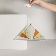 Stained Glass Triangle Panels - Rainbow