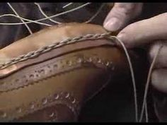 Handmade shoe making - spinning stitch close-up - YouTube