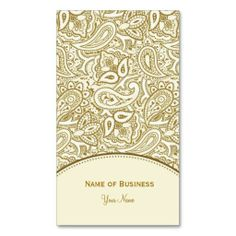 Elegant Gold and White Paisley Damask Business Cards featured on the Girly Business Cards Website.
