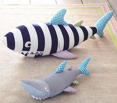 Shark Patchwork Plush looks great hanging from the ceiling. In the corner above the boat would be cool. #PotteryBarnKids