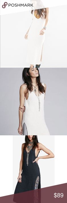 🌙Free People Emmy Knitted Sweater This brazen, skin-baring style by Free People is practically the antithesis of the sweater dress, plunging here and ascending there so that it shows almost as much as it covers. That's a lot of allure for a look so effortless. Free People Sweaters