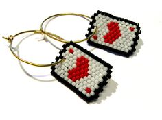 Hoop Earrings - Aces for The Queen of Hearts. kr330.00, via Etsy.