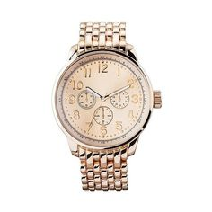 Women's Oversized Boyfriend Watch with Decorative Dials ($20) ❤ liked on Polyvore featuring jewelry, watches, jewelry-miscellaneous, wristwatch, merona, oversized watches, dial watches and oversized jewelry