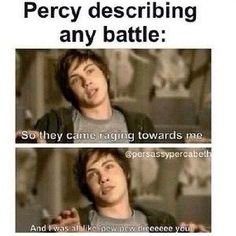 {Funny} Percy Jackson & the Heroes of Olympus Percy Jackson Fandom, Percy Jackson Film, Percy Jackson Quotes, Dibujos Percy Jackson, Oncle Rick, Piper Mclean, Rick Riordan Books, Annabeth Chase, Book Memes